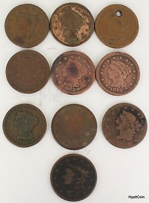 10 Large Cent Copper 1C Classic Head Coronet Head Braided Hair 1837-1853