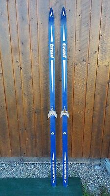 "Vintage Wooden 82"" Long BLUE Skis with Bindings Signed TRAIL"