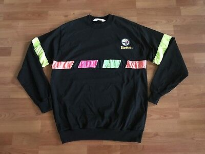Vintage Pittsburgh Steelers 80s 90s XL Neon Long Sleeve Black Shirt