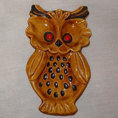 Vintage Owl Spoon Rest Ceramic Brown Best Wishes 1971 - Cracked