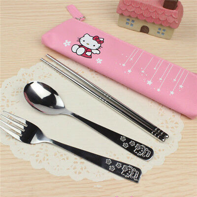 3 pcs Cute Dinnerware Hello kitty Doraemo Spoon/Fork/Chopsticks with PU bag