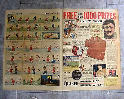 Babe Ruth Newspaper Ad 1934 April 15 Sunday Full Page Quaker Wheat & Rice