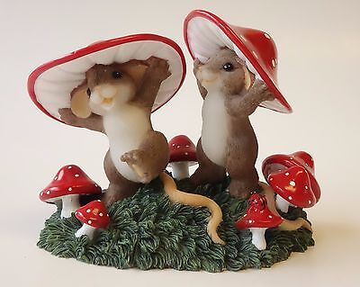 """Charming Tails Figurine Fitz & Floyd """"COME JOIN US THERE'S ENOUGH 'SHROOM..."""""""