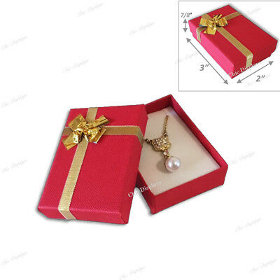 Lot Of (10) Red Bow-Tie Boxes Jewelry Boxes Danger Earring Boxes Pendant Box