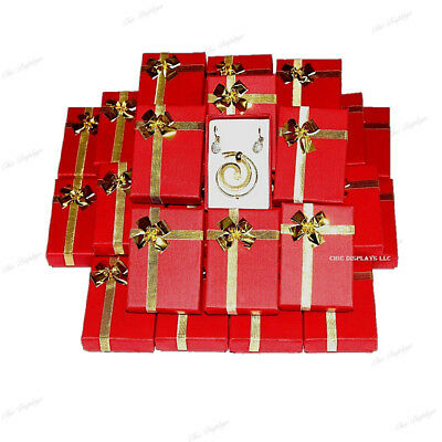 Lot Of (72) Red Wholesale Jewelry Boxes Earring Boxes Bow-Tie Box Pendant Boxes