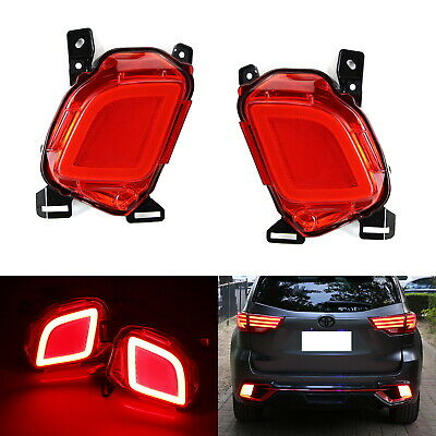 LED Rear Fog Lights Bumper Reflector Brake Running Lamps For 2014-19 Highlander