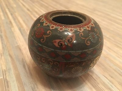 Antique Authentic Small Chinese cloisonné 3 Leg Pot (Lid Missing)