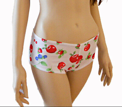 Retro 50s Booty Short Dance Hot Shorts Cherry Berry Pin Up Print Boyshort OS JTF