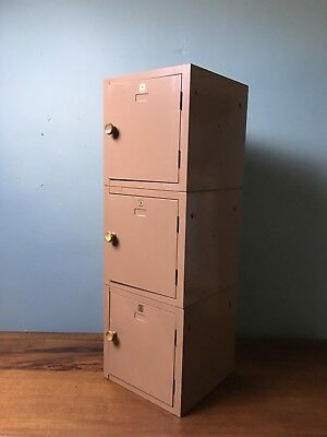 Vintage Industrial Compartment Steel School Locker Cabinet