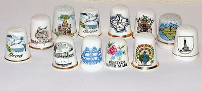 12 China/Porcelain Topographical Thimbles PLACES IN GREAT BRITAIN (Ref 16a)