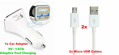 Dual Port Car Charger w/2 Micro USB Cables OEM Adaptive Fast Charge Cord Rapid +