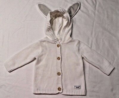 Gymboree Size 3-6 Months Infant Peter Rabbit White Bunny Sweater Hood Nwt