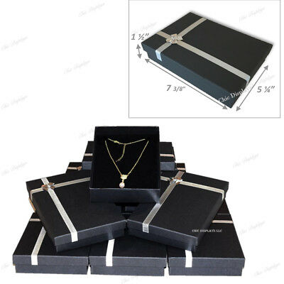 """LOT OF (12) Pc  BLACK NECKLACE DISPLAY JEWELRY GIFT BOX LARGE NECKLACE BOX 1.5""""H"""