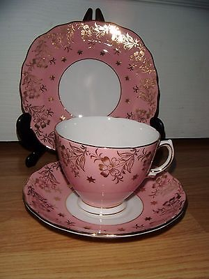 Stunning Colclough Pale Baby Pink & Gold Afternoon Tea Cup Saucer & Plate Trio