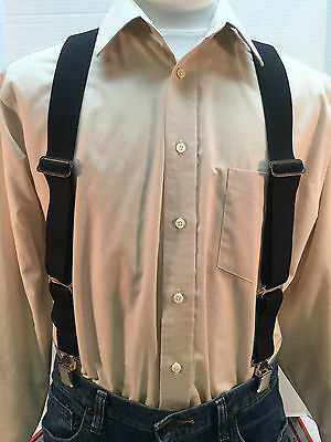 "New, Men's Black, XL, 1.5"", Adj.  Side Clip Suspenders, Made in USA"