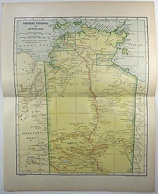 Northern Territory Australia 1912 Map by L. L. Poates. Antique Original Map