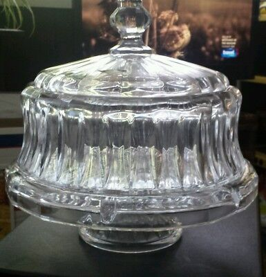 Shannon by Godinger Stratford Four in One Crystal Cake Dome Punch Bowl  NICE!!