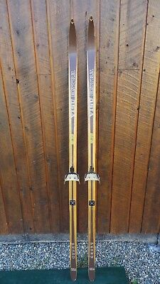 "Vintage Wooden 72"" Long BROWN Skis with Bindings Signed VISU EXTRA"
