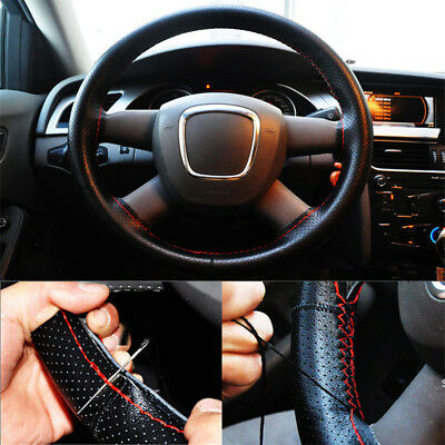 1PCS DIY Hubs Car Steering Wheel Cover Needles and Thread Artificial Leather New