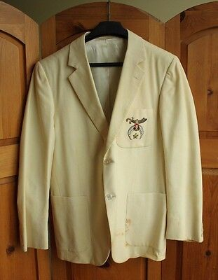 Vintage Shriners Embroidered Cream Mens Suit Jacket House of Hobberlin Masonic