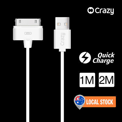 2 x CRAZY USB Charger Data Sync Cable for iPhone 4S iPod Nano 6 5 Touch iPad 2 3
