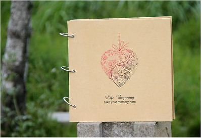 DIY BK 30 PAGE Heart Black Kraft Hard Cover Photo Album Wedding Scrapbook