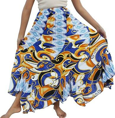 RaanPahMuang Long Flowing Beach Skirt Bold Viscose Prints - Retro Art Printed