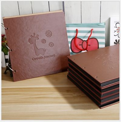 DIY PU Leather Cover Kraft Paper Photo Album Wedding Baby Scrapbook Guest Book