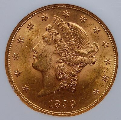 1899 $20 Gold Double Eagle Ngc Ms 63 Nice Strike And Luster Few Light Marks
