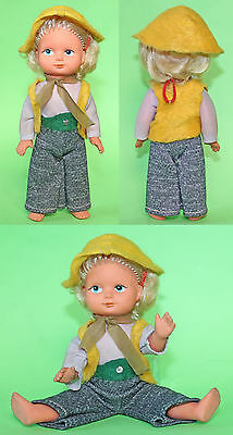 """Vintage 8"""" German DDR Cute Rubber Doll, moving parts, with hat 1970's"""