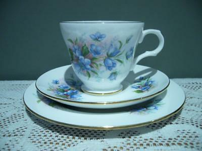 Crown Trent Vintage Floral Gilt Trio - Cup Saucer Plate - Blue Bell Flowers  Vgc
