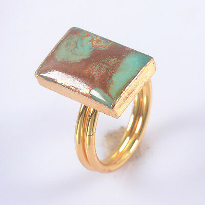 Size 8 Natural Genuine Turquoise Ring Gold Plated T033618