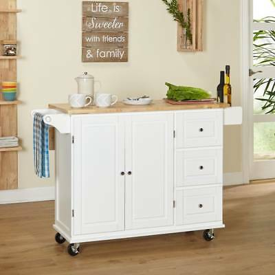 Kitchen Island 3 Drawer Drop Leaf Modern Portable Rolling Cart Table Top White