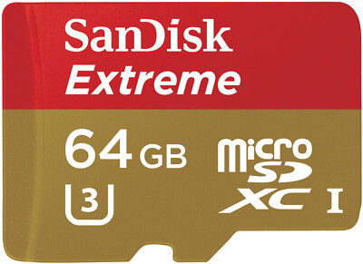 NEW Sandisk 2492245 Extreme 64GB MicroSD Memory Card