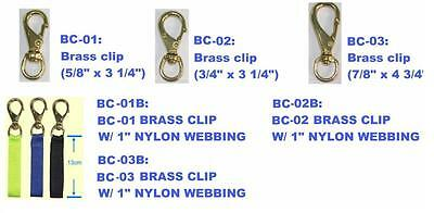 Naval bronze clipsnap hook  with 25mm webbing. 3 sizes. NEW Red Hat Diving
