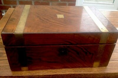ANTIQUE VICTORIAN WRITING SLOPE BOX FOR RESTORATION No Key 35cmx15x23.5cms Brass