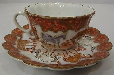 Vintage Oriental China Cabinet Cup & Saucer Featuring Horses Gilt Decoration