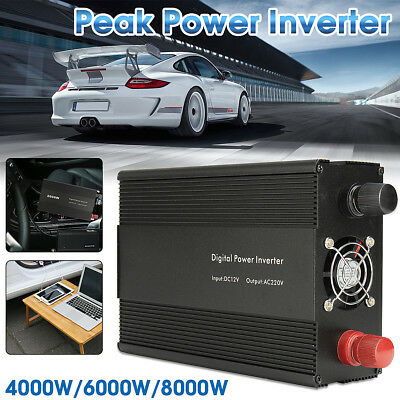 Pure Sine Wave 2000W/4000W Max Power Inverter 12V-240V Camping Boat Sinewave