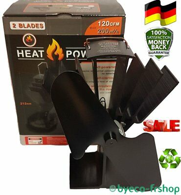 2 Blade Heat Powered Stove Top Fan & FREE Thermometer Wood & Coal Fire Burners D