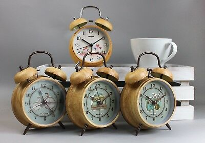 "4"" Retro Loud Double Bell Alarm Clock Quartz Non-Ticking Night Light Bedside"