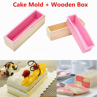 Silicone Mold Rectangle Mould & Wood Box Baking Tool  Loaf Cookie Cake Soap 1kg