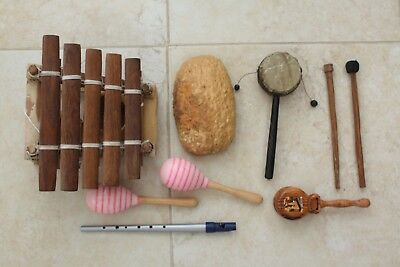 Mixed Lot Of Musical Instruments. Balapon /kalimba / Hand Castanets /whistle .