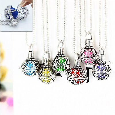 Vintage Silver Aromatherapy Locket Essential Oil Diffuser Necklace Fragrance Hot