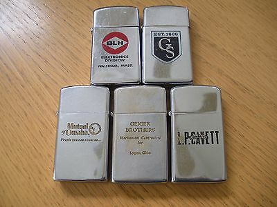 LOT of 5 VINTAGE  Zippo LIGHTERS