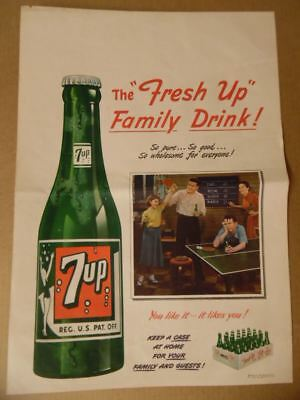 1950 7UP 7-Up The Family Drink Soda Paper Advertising Banner Poster Sign Vintage