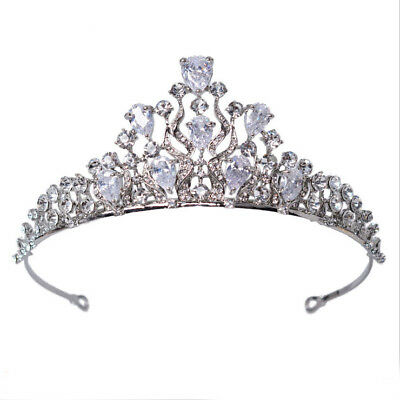5cm High CZ Crystal Adult Wedding Bridal Party Pageant Prom Tiara Crown 2 Colors