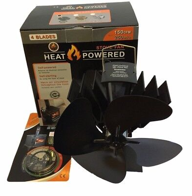 New2018 Model 4 Blade Heat PoweredStove fan Wood/log Burner Fan And Thermometer