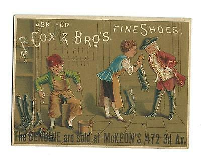 Old Trade Card P Cox & Bros FINE SHOES Shoemaker McKeon's Shoe Boots