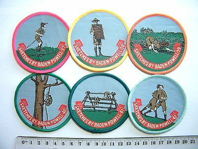 BP SCOUT BADGES Sketches of Baden-Powell (37-42), includes climbing & wrestling