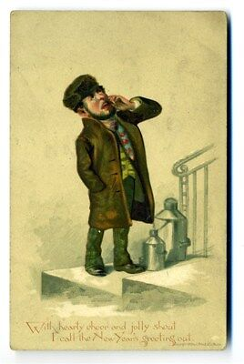 Prang & Co of Boston  1883 Happy New Years Card Animated Man